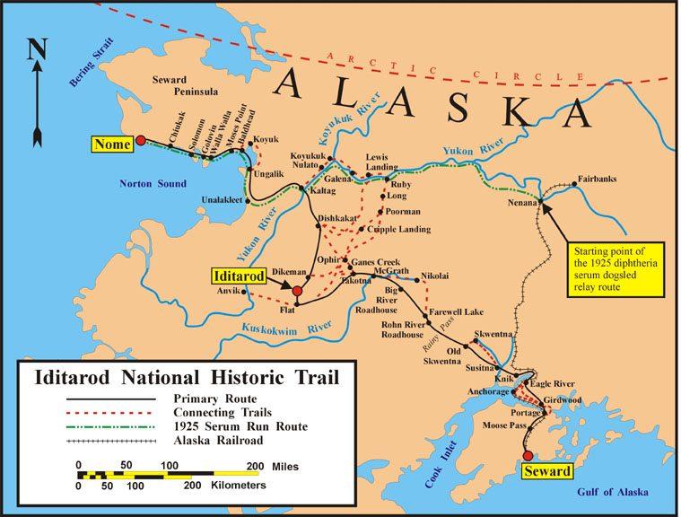 La ruta que sigue la Iditarod