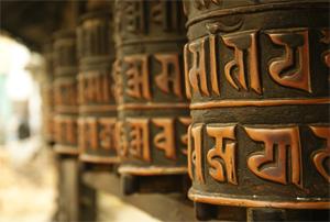 Molinillos de oración en la estupa de Swayambhunath