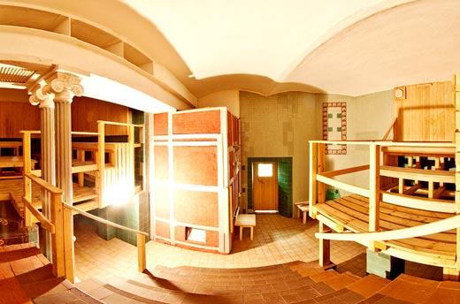 El interior de la sauna