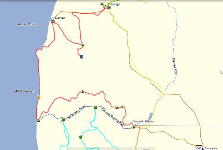 La ruta que hicimos por el Norte de Namibia y Sur de Angola