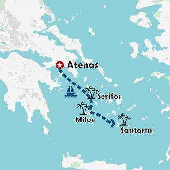 Mapa de Atenas e Islas Griegas