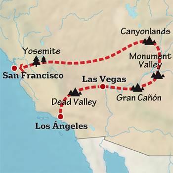 Mapa de Aventura por la Costa Oeste