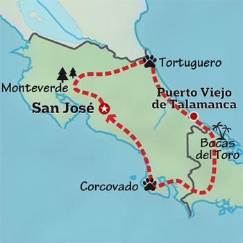 Mapa de Costa Rica activo