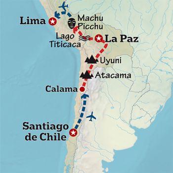 Mapa de De Atacama, Uyuni a Machu Picchu