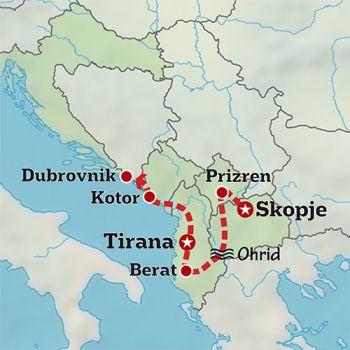 Mapa de De ruta por los Balcanes