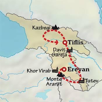 Mapa de Del Ararat al Caúcaso