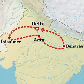 Mapa de Del Rajastán hasta Varanasi