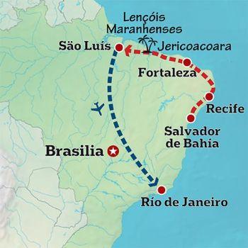 Mapa de La belleza del noreste brasileño