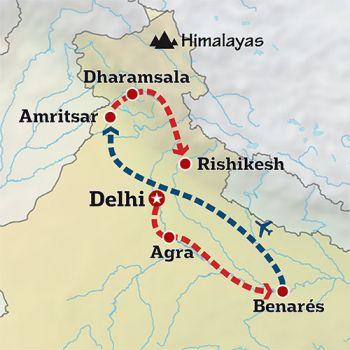 Mapa de La India más espiritual