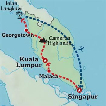 Mapa de La península de Malasia
