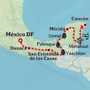 Mapa de La ruta de los Aztecas