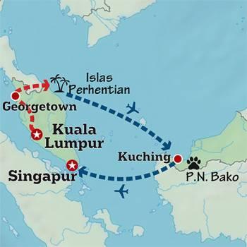 Mapa de Malasia y el corazón de Borneo