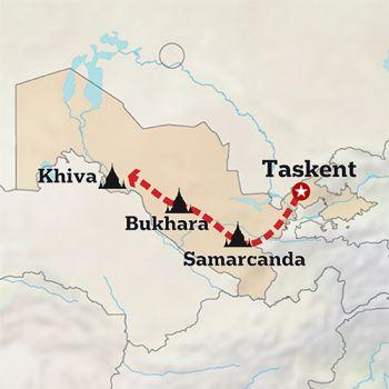 Mapa de Por tierras de Samarkanda