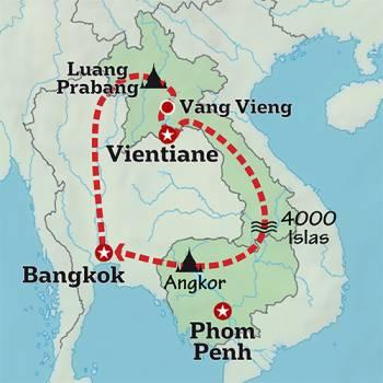 Mapa de Recorriendo el Río Mekong