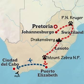 Mapa de Road trip por Sudáfrica