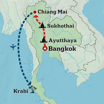 Mapa de Tailandia en Acción