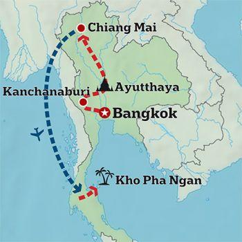 Mapa de Tailandia en Familia