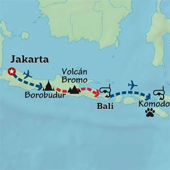 Mapa de Volcanes, buceo y dragones de Komodo