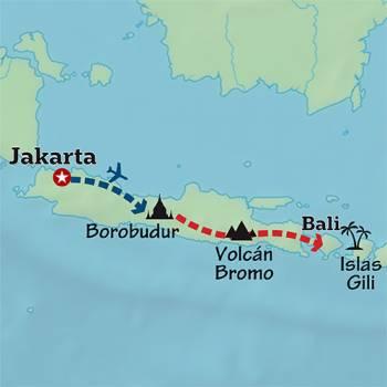 Mapa de Volcanes, templos y Yoga