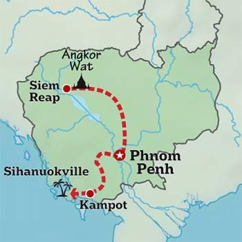 Mapa de Yoga y Aventura en Camboya