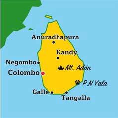 Mapa de Sri Lanka y Maldivas